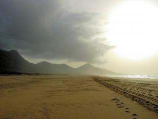 Huge cofete beach in fuerteventura  long