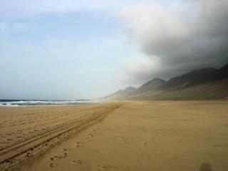Huge cofete beach in fuerteventura  wheeltraces