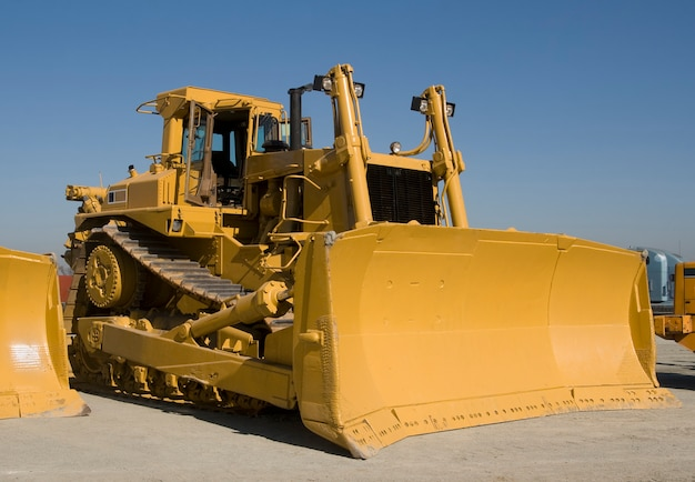 A huge d10 caterpillar bulldozer at a heavy equipment auction in california.