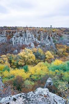 ウクライナとその美しい自然の暖かい太陽に満ちた牧草地の植生で覆われた古い石の鉱物の巨大な堆積物