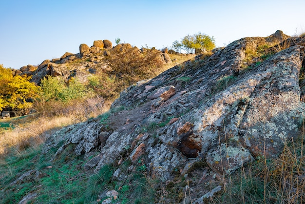 우크라이나의 따뜻한 태양과 그 아름다운 자연으로 가득한 초원에 초목으로 덮인 오래된 석재 미네랄의 거대한 퇴적물
