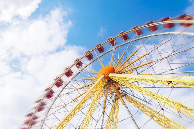 Huge ferris wheel in motion