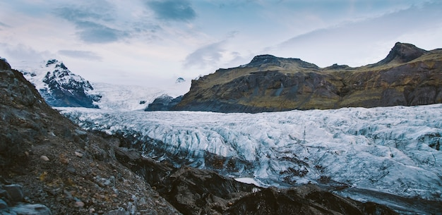 Huge glacier, view of the tongue and its large blocks of ice.