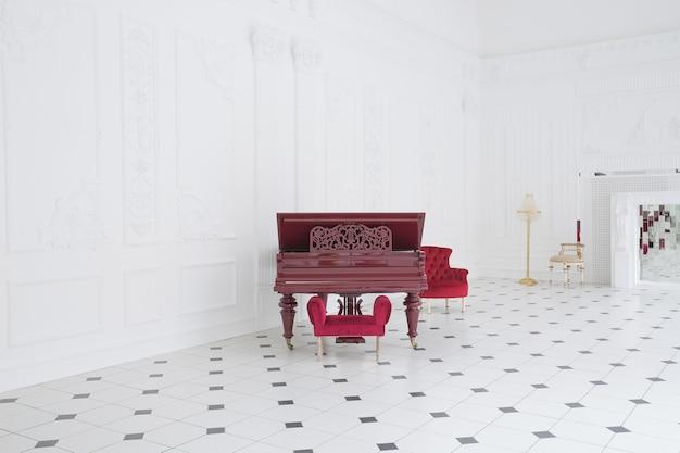 독특한 인테리어의 거대한 럭셔리 화이트 홀. 바닥에 흑백 타일, 벽에 흰색과 검은 색 치장 벽토, 거울 모자이크와 그랜드 피아노가있는 높은 벽난로