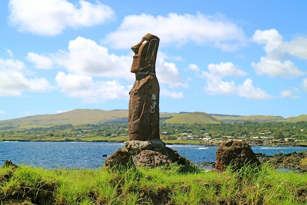 Huge moai of ahu mata ote vaikava on the pacific coast at hanga roa, easter island, chile