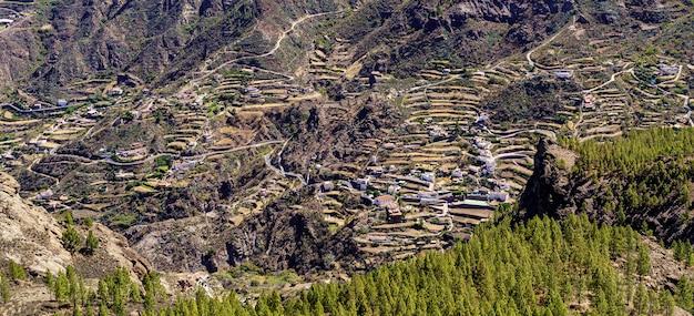 急な斜面に家や道路があるグランカナリア島の巨大な山。カナリア諸島。スペイン