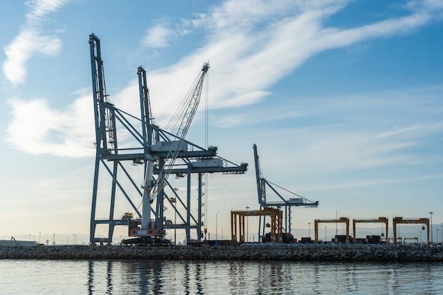 Huge port cranes
