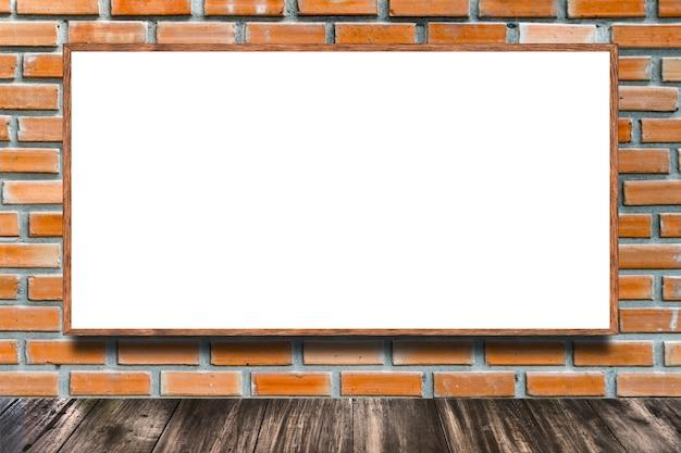 Huge poster advertising billboard on brick wall