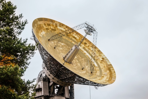 Huge radio telescope in an astronomical laboratory