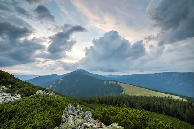 Огромные скальные валуны в зеленой долине с черничными кустами на далеких лесистых горах.