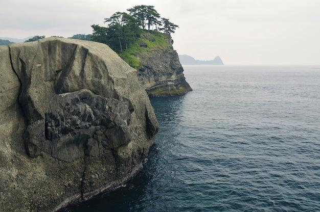 日本の伊豆半島の崖の上に風光明媚な松の木がある巨大な岩の形成海岸線