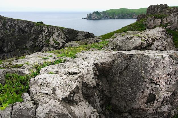 海、海の夏の風景に巨大な岩