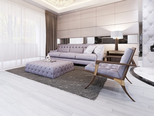 A huge white corner sofa with a modular system in the evening interior near large panoramic windows. 3d rendering.