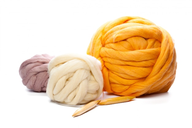 Huge yarn threads isolated on white