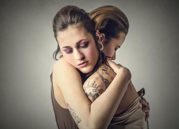 Hugging female friends