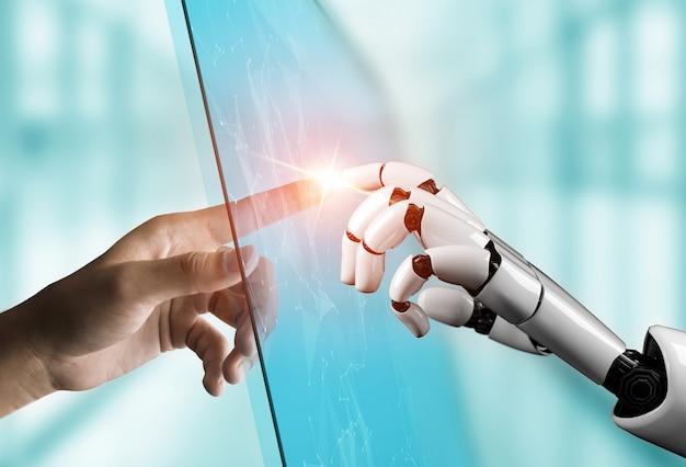 人間とロボットの手が触れる