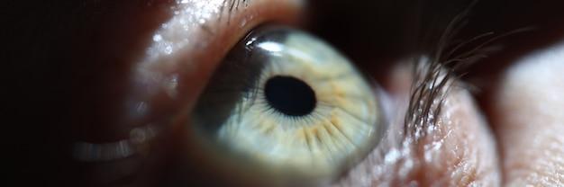 Голубой глаз человека, на котором светит луч света