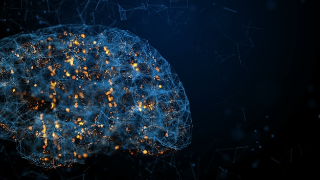 Человеческий мозг в цифровом фоне bule