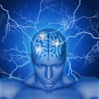 Human brain with rays