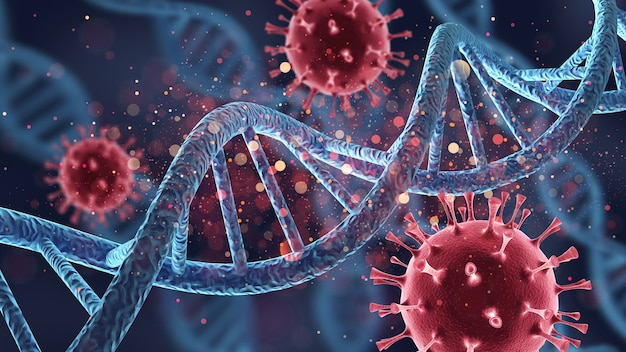 인간 세포 생물학 dna 가닥 및 바이러스 분자 구조 그림