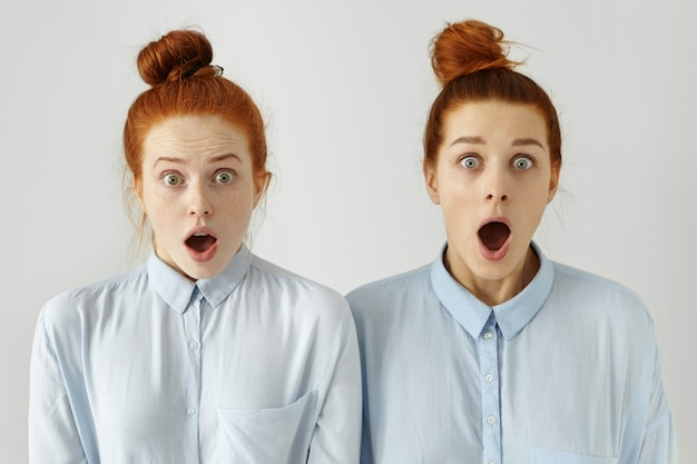 Human emotions. two beautiful ginger girls wearing identical blue shirts and hairstyles looking in astonishment with mouths widely opened and jaws dropped, surprised with shocking news