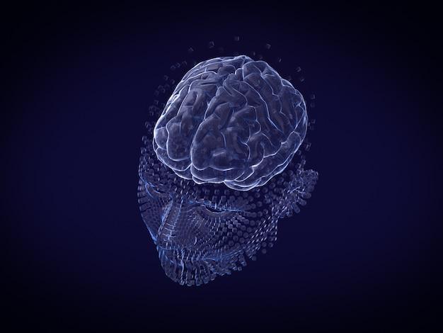 Человеческое лицо и мозг в стиле голограммы и каркаса style.3d