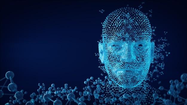 원자의 융합으로 형성된 인간의 얼굴