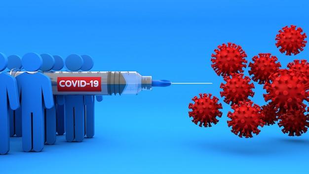 Человек борется с covid 19 с вакциной в шприце