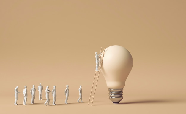 Фигурки людей, использующие лестницу, чтобы добраться до лампочки, как идея идеи