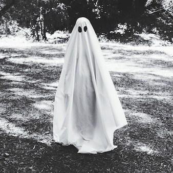 Human in ghost costume in forest