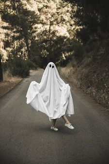 Human in ghost suit posing on countryside route