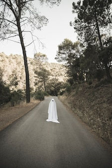 Human in ghost suit standing on countryside route