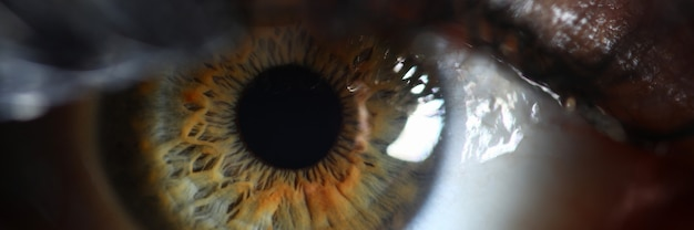Human green eye retina supermacro closeup. check vision concept