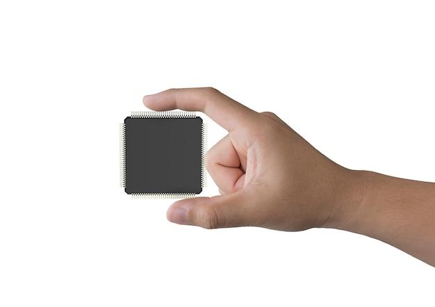 흰색 절연 3d 렌더링 cpu 칩을 들고 인간의 손