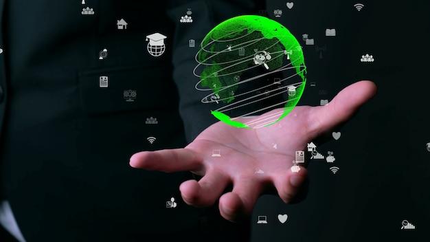 인간의 손을 잡고 지구 글로브 홀로그램 기술