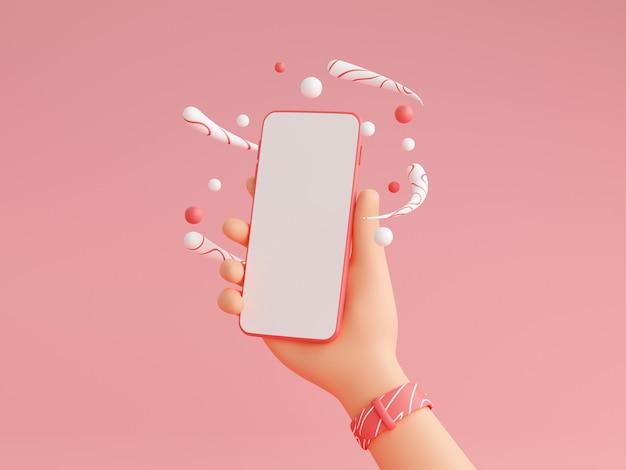 白い空の画面で携帯電話を持っている人間の手3dレンダリングイラスト-腕時計とキャラクターの手でスマートフォンのモックアップ、ピンクの背景に装飾。