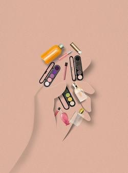Человеческая рука из бумаги, держащая аксессуары и вещи для макияжа на пастельном фоне