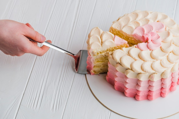 Human hand taking slice of cake with spatula