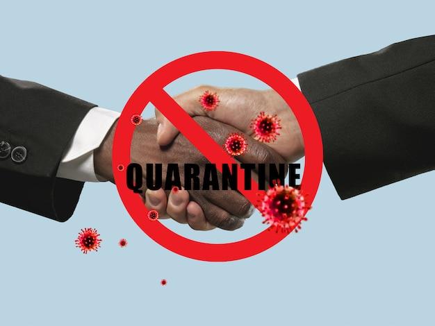 Human hands shaking, avoid greeting while coronavirus epidemic