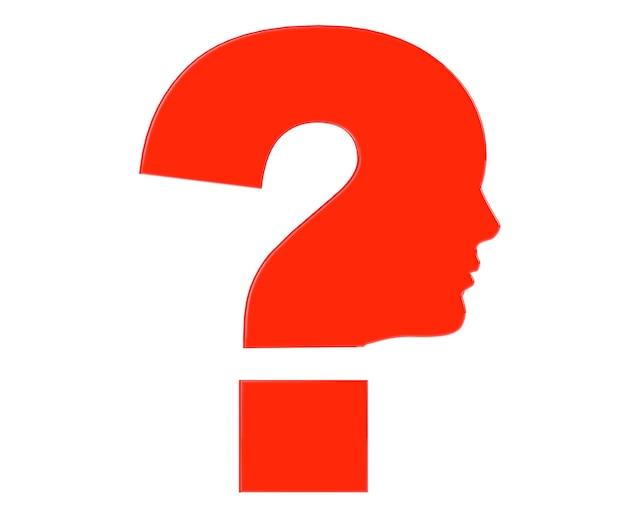白い背景の上の赤い疑問符のシンボルとして人間の頭