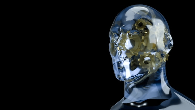The human head crystal and gold gear inside for symbol idea content 3d rendering