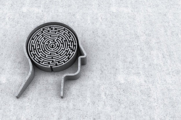 Human head and inside a maze with concrete background. 3d rendering