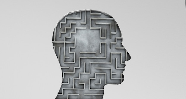 Human head and inside a maze with an empty area. 3d render.