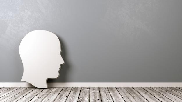 壁に対して木製の床の人間の頭のプロファイルの形状