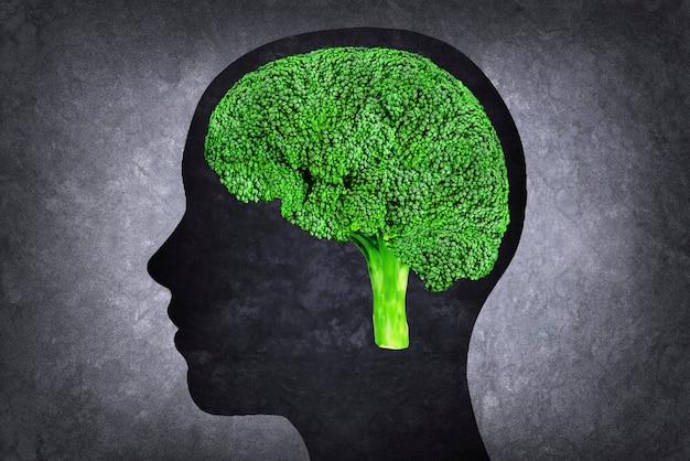 Human head with brain instead broccoli