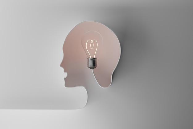 Человеческая голова с лампочкой. концепция творчества, идеи и воображения, 3д иллюстрация