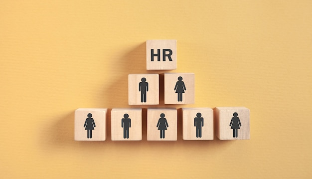 Human icons on wooden cubes. hr. human resources