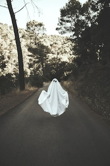 Human in ghost suit levitating on countryside route