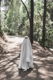 숲에서 산책로에 서있는 유령 옷을 입은 인간