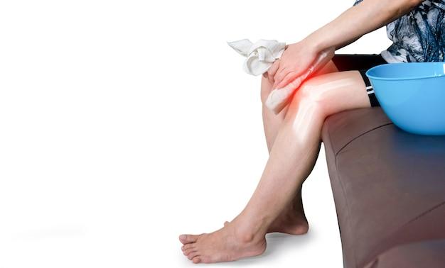 Human leg osteoarthritis inflammation of bone joints cold compress